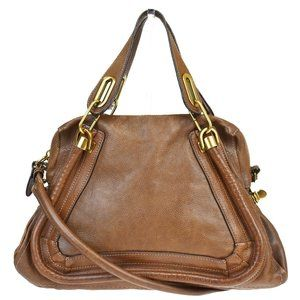 CHLOE Paraty 2Way Shoulder Hand Bag Leather Brown